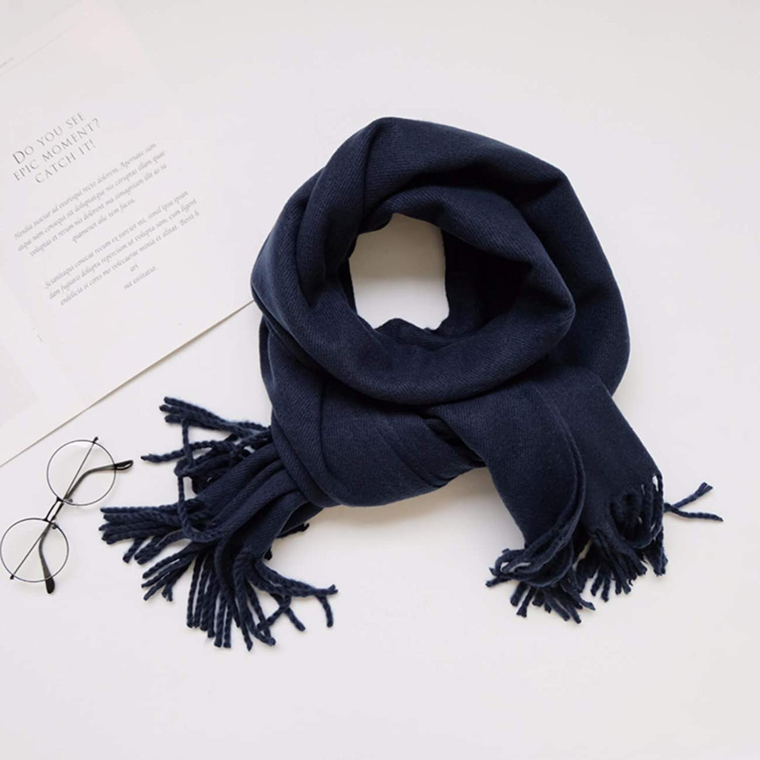 Thickened Pure color Cashmere Scarf, DualPurpose Shawl and Long Neck Scarf.