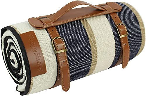 """87""""X 67""""Extra Large Picnic Blanket   Ourdoor Handy Mat   English Style Picnic Rug   Waterproof Lawn Blanket Tote   Po..."""