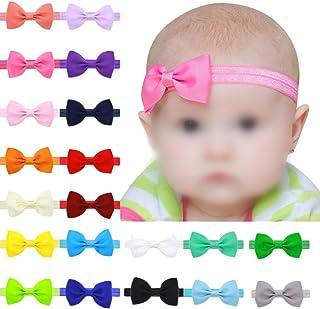 Bullidea 17Pcs Cute Baby Girls Turban Christmas Headbands Hair Clips Colorful Cotton Cloth Hair Wraps BowKnot Style Hairbands Set for Toddler Kids