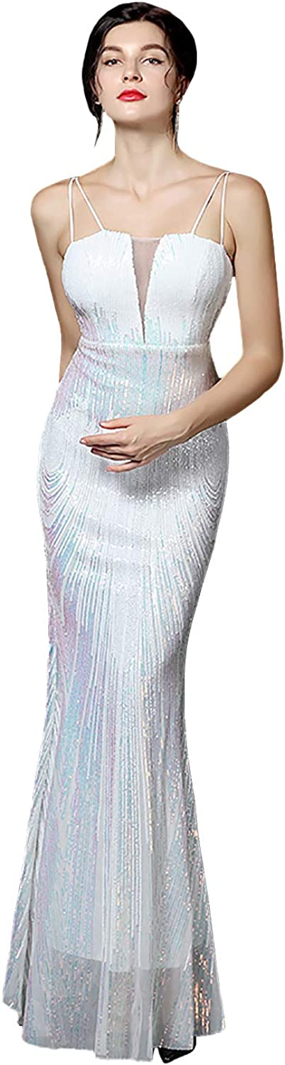 Sxfashbrd Womens Sexy Formal Evening Prom Gowns Strap V Neck Long Mermaid Bridal Sequins Homecoming Party Cocktail Dresses