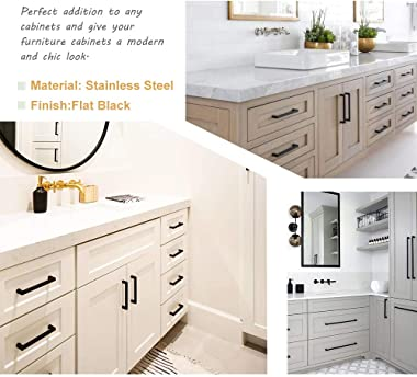 Goldenwarm 10 Pack Black Square Bar Cabinet Pull Drawer Handle Stainless Steel Modern Hardware for Kitchen and Bathroom Cabin