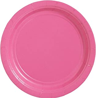 "amscan Bright Pink Dinner Paper Plate Big Party Pack, 50 Ct., 9"" x 9"""