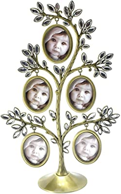 Kookee Jeweled Family Tree Picture Frame Gold (5 Frame)