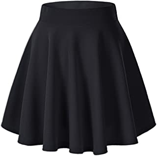 Women's Basic A Line Pleated Circle Stretchy Flared Skater Skirt