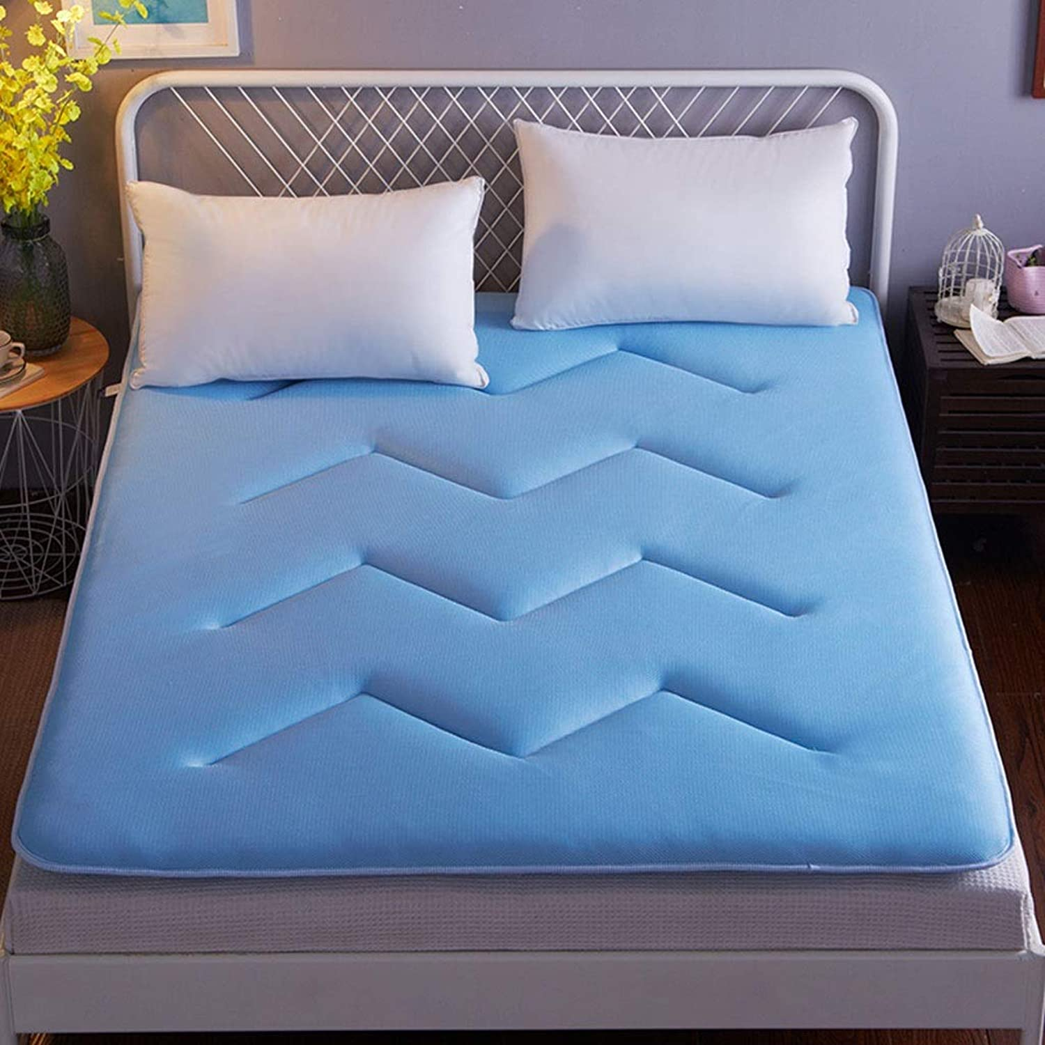 3D Breathable Mattress Tatami Sleeping Mat Home Student Dormitory to Play The Floor Soft and Comfortable Moisture Mat Can Be Washed (color   bluee, Size   120X200cm)