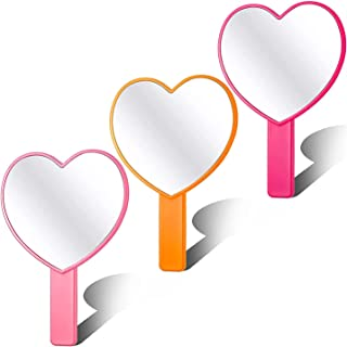 3 Pieces Heart-Shaped Handheld Mirror, Travel Makeup Mirrors with Handle Portable Cosmetic Mirror for Women Girls Makeup H...