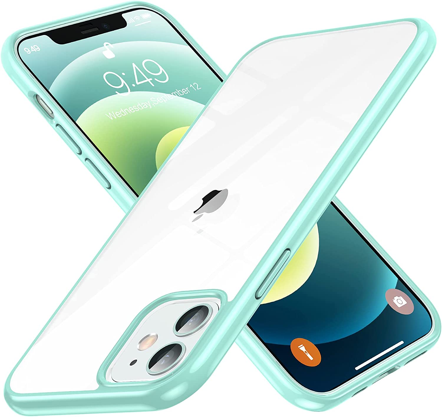 Humixx Designed for iPhone 12 Mini Case,Diamond Crystal Clear Case, [20X Anti-Yellowing] [Military Grade Drop Protection] Hard PC Back with Soft TPU Bumper Slim Thin Case for iPhone 12 Mini-Aqua Green