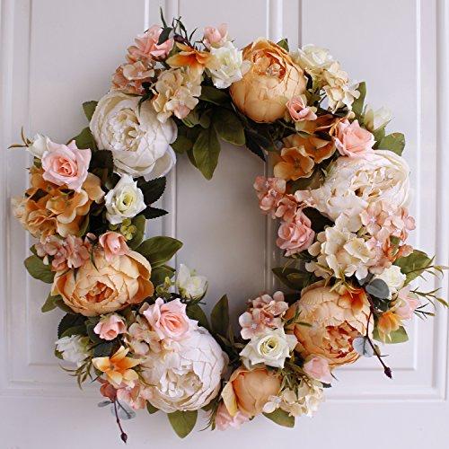 Imaly Decor Beautiful Silk Vibrant Peony & Wildflower Anteriore Portico Decorazione per Porta, Realizzato a Mano, 43,2cm diam Wh202