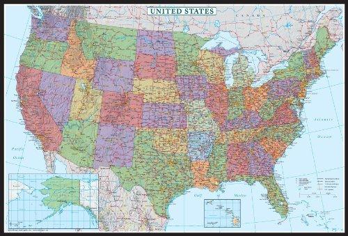 Swiftmaps 24x36 United States, USA US Decorator Wall Map Poster Mural Laminated