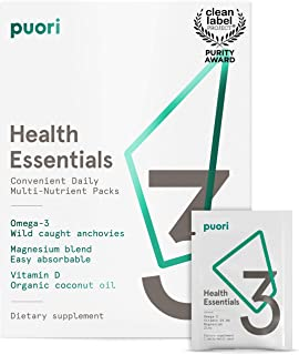 Puori - P3 Health Essentials Multivitamins for Men and Women, 30 Servings (Omega 3, Vitamin D, Magnesium)
