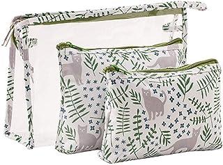 Waterproof Cat Cosmetic Bag Set Toiletry Storage Organizer for Women Girls (Green)