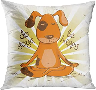 Docady Throw Pillow Decor Square 18 x 18 Inch Funny Cartoon Red Dog Sitting Lotus Position Yoga Decorative Cushion Cover Printed Pillowcase Cover Home Sofa Living Room