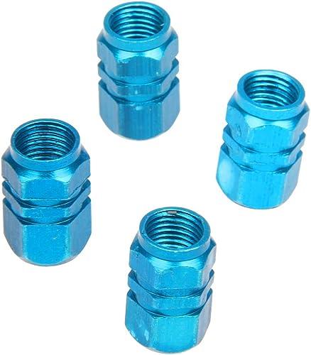 Sonline Lot de 4 bouchons de valve en Alu pour pneus de velo, moto, voiture ... - Bleu