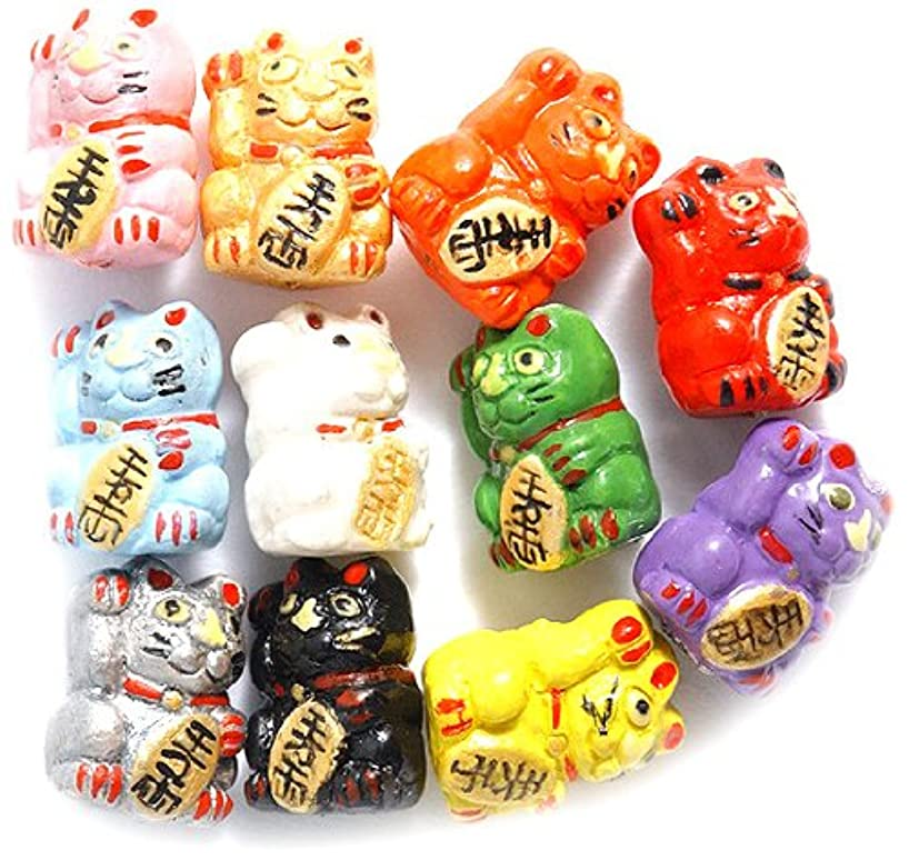 Peruvian 10 by 12mm Hand Crafted Ceramic Mix Good Luck Kitty Beads, Assorted, 12-mm