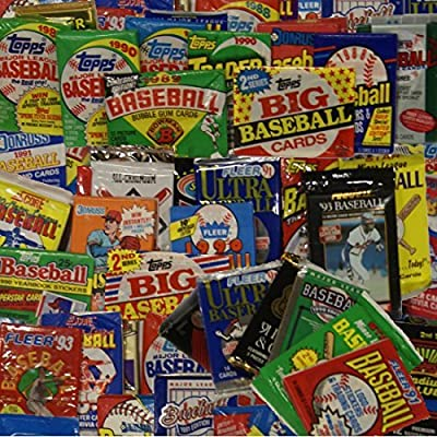 Unopened Baseball Cards Collection in 50 Factory Sealed Packs From the Mid 1980s and Early 1990s. Contains over 550 MLB Baseball Cards. Look for Hall-of-Famers Such as Ken Griffey Jr, Frank Thomas, Cal Ripken, Nolan Ryan, and Tony Gwynn.
