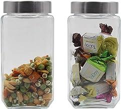 Soogo Glass Jar Set with Lid, 1 litres, 2-Pieces, Transparent