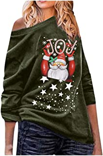 Holzkary Women's Christmas Off The Shoulder Loose Pullover Boat Neck Oversized Blouse Tops