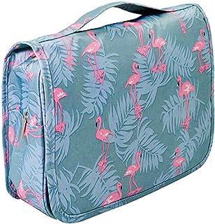 حقيبة سفر محمولة لأدوات الزينة حقيبة ماء منظم ماكياج حقيبة مستحضرات التجميل حقيبة للنساء فتاة الأزرق والوردي فلامنغو