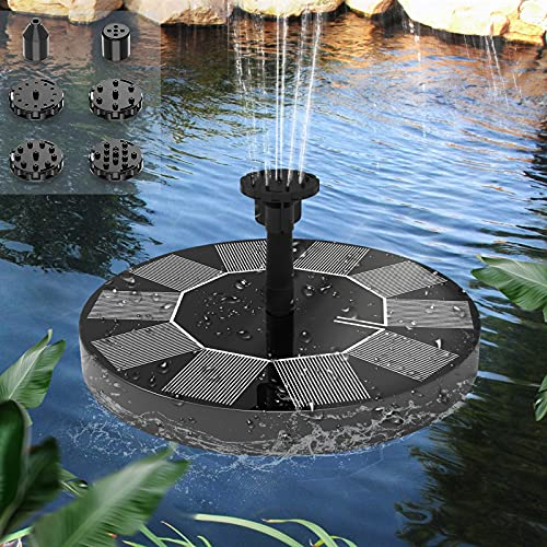 ソーラーポンプ ソーラー噴水 1200mAhバッテリー内蔵 太陽光充電 2.5wソーラーパネル 6個ノズル付き 最大ヘッド120cm 省エネ 水循環 バードバス用 ガーデン用噴水 屋外 日本語マニュアル