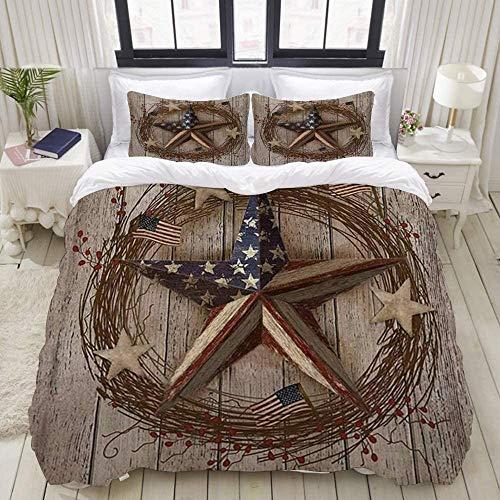 695 Juego de funda de edredón y sábanas, diseño de estrella de granero patriótica, granero en el campo, 1 juego de funda de edredón de 240 x 260 cm y 2 fundas de almohada de 50 x 80 cm.