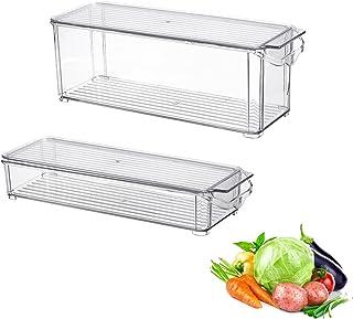 FONDUO Bac Rangement frigo avec Couvercle - Paquet de 2 bac Alimentaire en Plastique pour denrées Alimentaires, Organiseur...