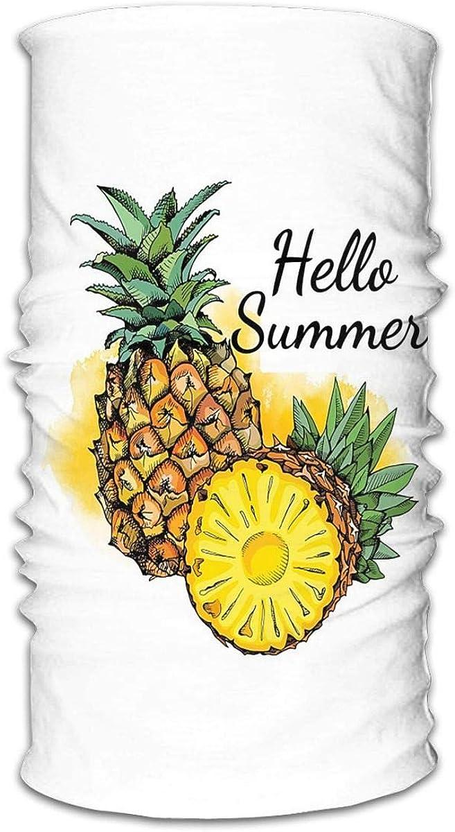 KiuLoam Bandanas Face Mask, Hello Summer Colorful Pineapple Neck Gaiter Mask Headband for Men Women Face Scarf Dust, Outdoors, Sports