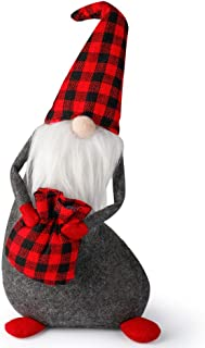 D-FantiX Swedish Tomte Gnomes Mr Santa Scandinavian Gnomes Figurines with Red Knit Hat Handmade Christmas Decoration Table Ornaments Standing Home Decor Desktop Collectible Dolls