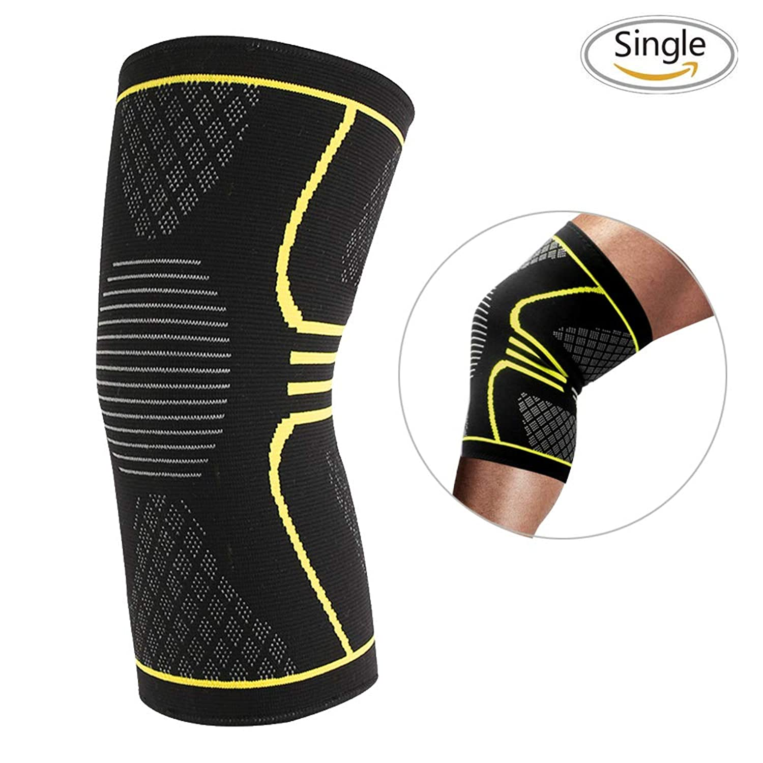 3D Knee Brace Knee Compression Sleeves,Soft Knee Pads Arthritis Knee Brace Athletic Padding Supplies Knee Sleeve Knee Cap for ACL,Pain Relief, Injury Recovery, Basketball and More Sports-Single dtipmo0098159