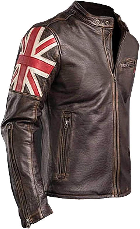 Men Brown UK Flag Union Jack Vintage Cafe Racer Biker Motorcycle Leather Jacket