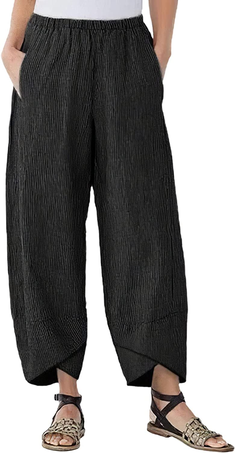 HYPOWELL Women's Loose Wide Leg Pants Striped Casual Elastic Waist Cotton Linen Cropped Trousers with Pockets