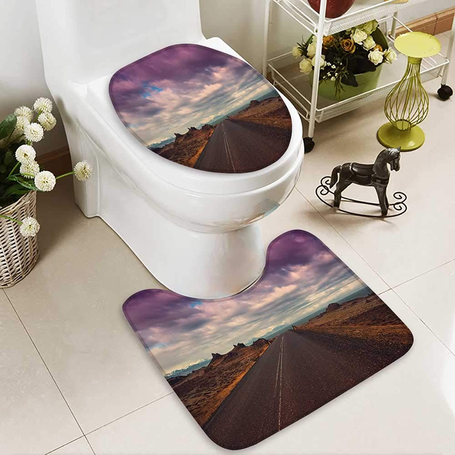 Aolankaili Cushion Non-Slip Toilet Mat Road Nature Background Soft Non-Slip Water