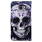 Bfun Packing Bcov Cool Floral Skull Leather Wallet Cover Case For Samsung Galaxy S7