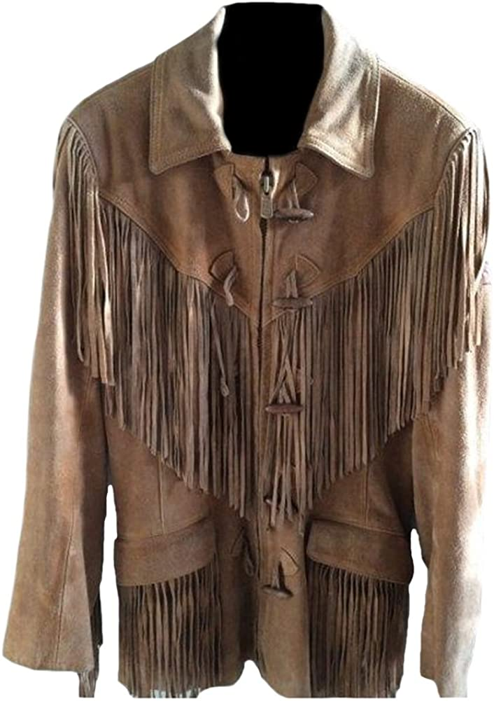 Classyak Men's Western Suede Real Leather Jacket Fringed