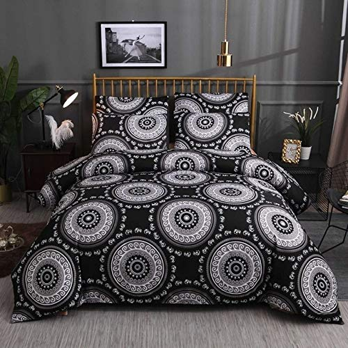 ZWL New Black Geometric Bedding Sets Cover Set Bed Set,01, Twin 140x210cm