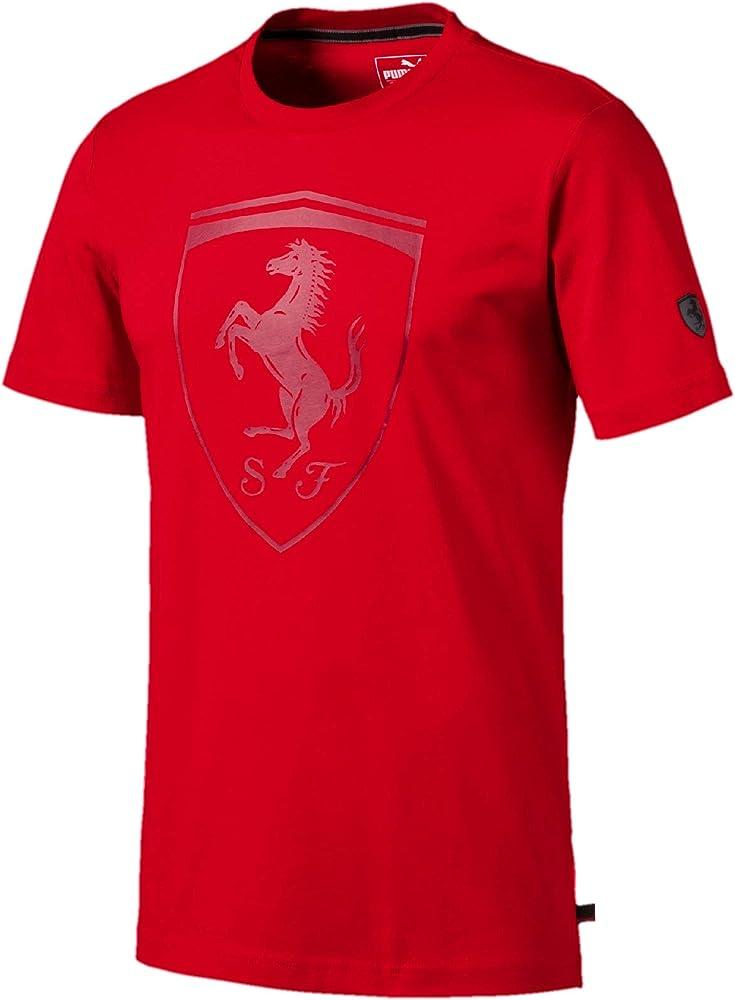 Puma ferrari big shield tee t-shirt, maglietta per uomo, 100 cotone con logo ferrari in gomma 59540802