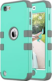 ULAK iPod Touch 7 Case, 3 in 1 Hard PC Case with Shockproof Silicone Interior Heavy Duty..