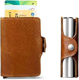 Men 100% Genuine Leather Double Metal ID Credit Card Holder RFID Wallet Blocking Aluminium Business Cardholder Hasp Mini P...
