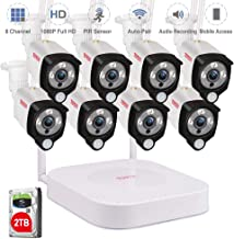 [Audio Recording] Tonton 1080P Full HD Security Camera System Wireless,8CH NVR Recorder with 2TB HDD and 8PCS 2.0 MP Outdoor Indoor Bullet Cameras with PIR Sensor, Plug and Play,Easy Installation