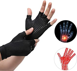 Arthritis Copper Compression Gloves Relieve Pain from Rheumatoid and Carpal Tunnel Gloves for Typing Wrist Supports Hand Left and Right,Arthritis Hands for Women Men Black Small/Medium (1 Pair) (M)