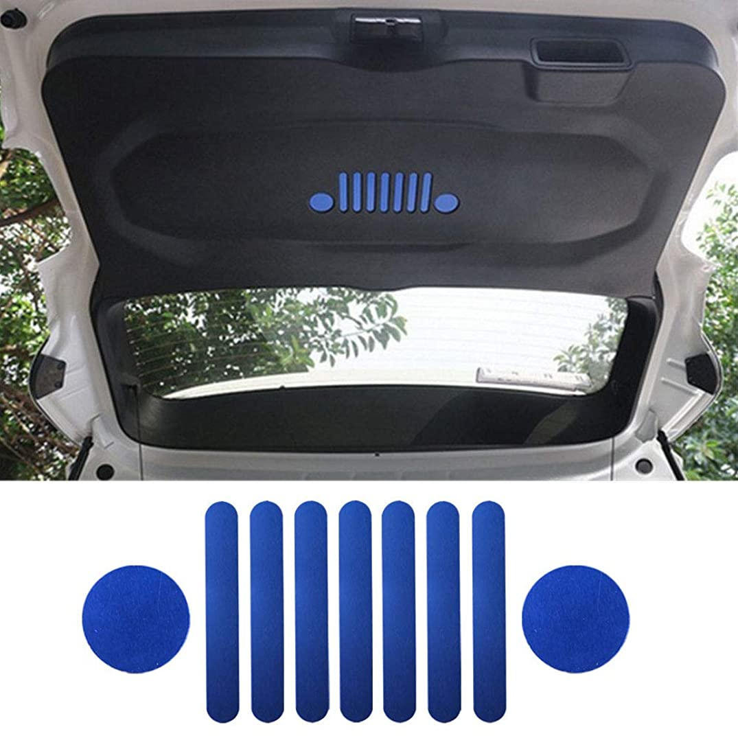 Auovo Aluminum Rear Trunk Storage Door Sticker Emblem Badge Decoration Cover Trimming Car Styling Accessories for Jeep Renegade 2015/2016/2017(Blue)