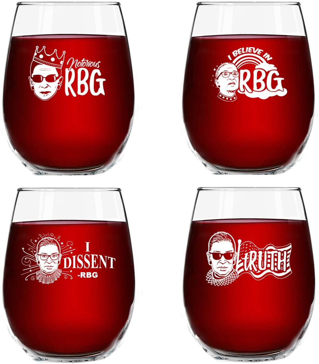 Set Max 88% OFF New mail order of 4 Ruth Bader Ginsburg Glasses oz Pre Birthday 15 Wine