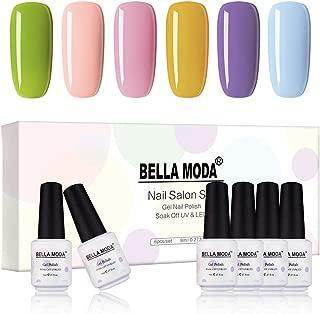 BELLA MODA 8ml Gel Nail Polish Kit for Nails Art 6 Colors Gift Box Gel Polish UV Nail Set BB-09