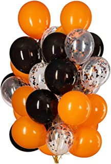 12 Inch Orange and Black Confetti Balloons Latex Helium Party Balloon Decorations,Pack of 50