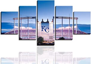 MIAUEN Wall Decor KCR Wall Art Canvas Prints Kansas City Royals MLB Baseball Team Poster with Frame Pictuers Painting Decoration Ready to Hang(60''Wx32''H)