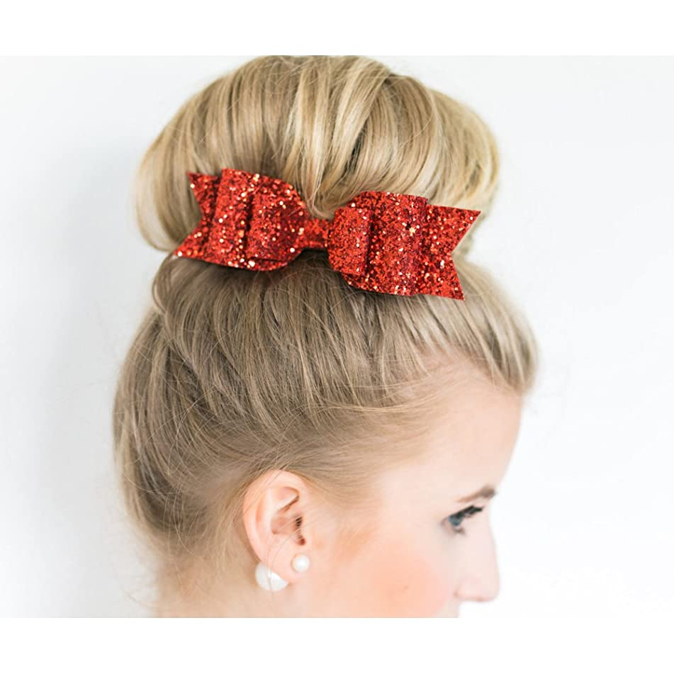 Happy Hours - 1 Pc Women and Girl Sequins Bowknot Hair Clips / Kids Bling Glitter Big Hairpin Headwear Hair Accessories(Red)