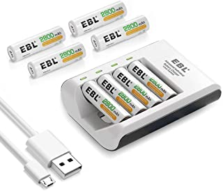 EBL Rechargeable AA Batteries Precharged 2800mAh Powerful Battery with Smart C807 Battery Charger for 1/2/3/4 AA AAA Batte...