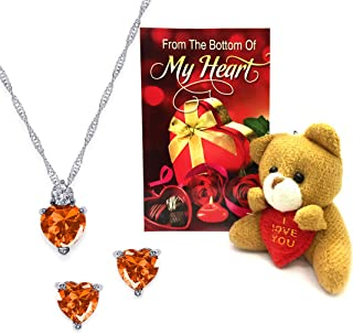 Peora Rhodium Plated Orange Crystal Heart Necklace Pendant Earring Set with Teddy Bear & Greeting Card for Girlfriend Gift for Valentine/Gift for Girl/Valentine's Gift