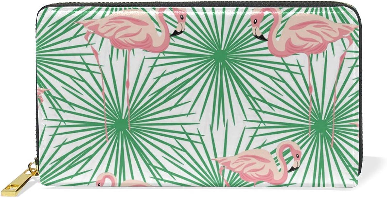 Women's Flamingo Tropic Palm Leaf Leather Wallet Cute Girl Zipper Clutch Purse