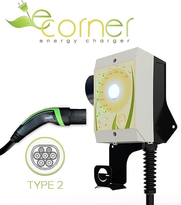 stazione di ricarica per veicoli elettrici con connettore tipo 2 potenza regolabile fino a 7.4kw 32a e-corner e-homec-b-7-ct2-01