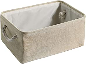 DOOFUU Linen Storage Basket,Collapsible Storage Basket Bins 3 Pack, Fabric Storage Box Cubes Containers with Handles- Larg...